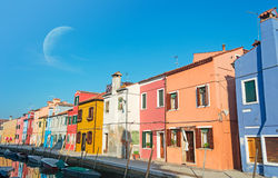 Moon over Burano Stock Photo