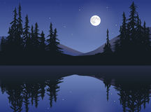 Moon Over Calm Lake Royalty Free Stock Photography