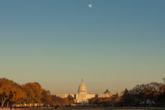 Moon Over Capitol Stock Image