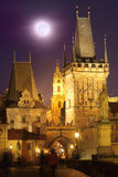 Moon over the Carl's bridge. Full moon over the Carl's Bridge in Prague, Czech Republic Stock Image