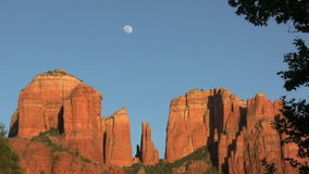 Moon Over Cathedral Rock Royalty Free Stock Image