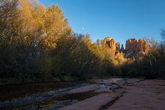 Moon Over Cathedral Rock in Fall royalty free stock photography