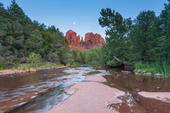 Moon Over Cathedral Rock Reflection Stock Photography