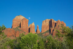 Moon Over at Cathedral Rock Royalty Free Stock Photo
