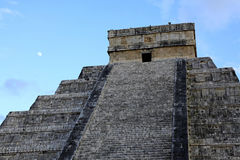 The Moon over Chichen Itza in the Yucatan Stock Image