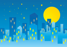 Moon over city Royalty Free Stock Photography