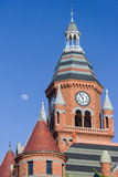 Moon over the clock tower of Old Red Museum in Dallas,  Texas Stock Image