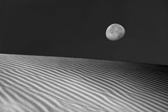 Moon Over The Dunes Stock Photo