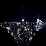 Moon over NYC. Moon over New York from Rockfeller Center observation deck Royalty Free Stock Image