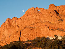 Moon Over Garden Of The Gods Stock Photography