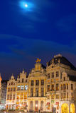 Moon over Grand Place Royalty Free Stock Images