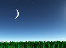 Moon over green landscape Royalty Free Stock Image