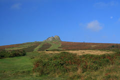 Moon over Haytor Rocks Royalty Free Stock Photography