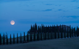 Moon over the hills of Tuscany, Italy Royalty Free Stock Photography