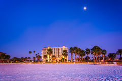 Moon over hotel and the beach at night in Clearwater Beach, Flor Stock Photos