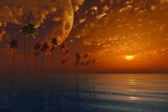 Moon over island Stock Image