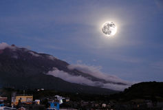 Moon over the island of Fogo Stock Image