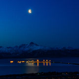 Moon over Kachemak Bay Royalty Free Stock Image