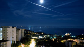 Moon over Kvarner bay Stock Image