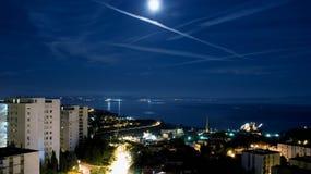 Moon over Kvarner bay. Moonlight night over Rijeka, Croatia Stock Image