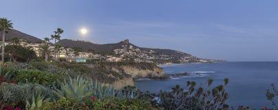 Moon over Laguna Beach Stock Images