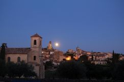 Moon over Lourmarin Stock Photos