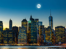 Moon Over Manhattan Royalty Free Stock Images