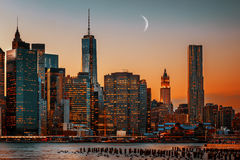 Moon Over Manhattan Stock Photography