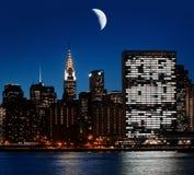 Moon over Manhattan Stock Photo