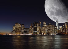 Moon over a Manhattan. Stock Photography