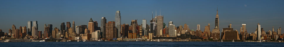 Moon over Manhattan Panorama Royalty Free Stock Photography