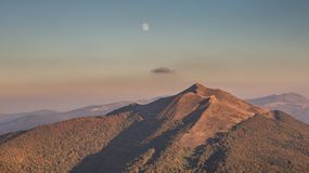 Moon over the Mountain, Bieszczady,Poland Stock Photography