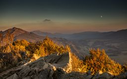 Moon over the Mountains, Bieszczady,Poland Stock Image