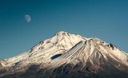 Moon over Mt. Shasta Stock Image