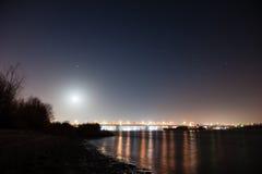 Moon Over Night  Bridge Royalty Free Stock Photo