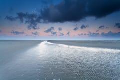 Moon over North sea coast Stock Photography