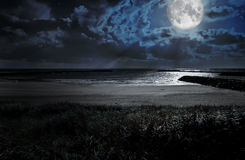 Moon over the ocean Stock Images