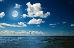 Moon over the ocean Royalty Free Stock Image