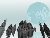 Moon over ocean rocks Stock Photography