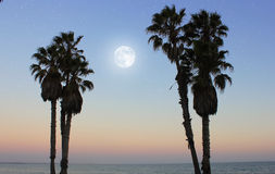 Moon over the Pacific Ocean, California, USA Stock Photo