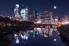 Moon over the Philadelphia Night Skyline. Reflects on the Schuylkill river stock image