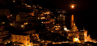 Moon over Positano, Italy Royalty Free Stock Images