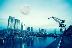 Moon over Puerto Madero in Buenos Aires Stock Photos
