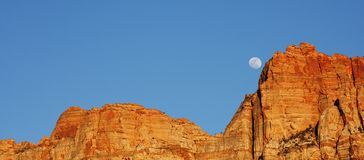 Moon over Red Rock Royalty Free Stock Photography