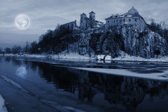 Moon over the river  in Tyniec Stock Photo