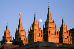 Moon over Salt Lake Temple Stock Photos