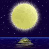 Moon Over Sea, Low Poly Stock Photography