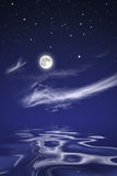 Moon over sea at night Royalty Free Stock Photo