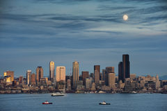 Moon over Seattle Royalty Free Stock Image