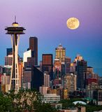 Moon over Seattle royalty free stock images